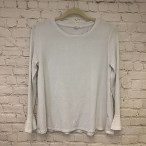 Gap White Long Sleeve Knit Top Bell Cuff Size XS